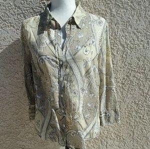 Ann Taylor Floral paisley cotton shirt white EUC